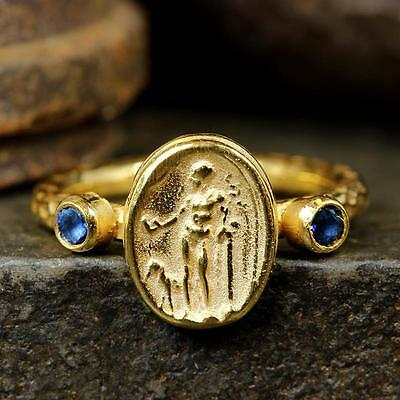 Sterling Silver Ancient Roman Art Handcrafted 24K Gold Vermeil Signet Coin Ring