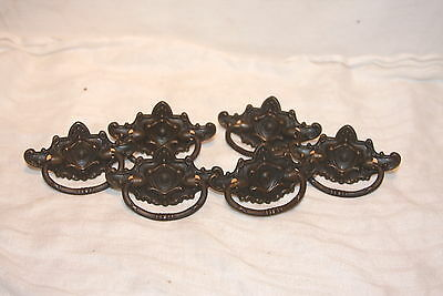 Set of 6 Antique Brass Ornate Eastlake Center Shield Drawer Pull Handles