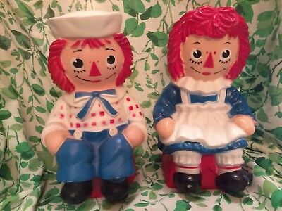 2 Vintage Raggedy Ann and Andy Plastic Coin Banks Bobbs Merrill My Toy Co 1972