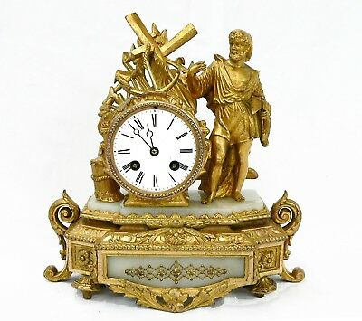 An Antique French 'Gilt Metal' Cased Mantle Clock.