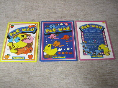 3 Different Pac-Man School Folders Vintage 1980 Collectible Video Arcade Game