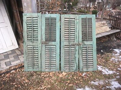 Vtg Pair 1800's Old  Wooden Window Shutters Architectural Salvage Screen 45 x 14