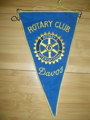 VINTAGE FLAG Rotary Club Wimpel Flagge Color SERVICE DAVOS