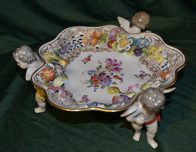 Antique ACKERMANN & FRITZE FOOTED BOWL WITH CHERUBS
