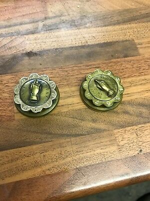 A pair of brass Victorian whist markers made by perry and co of London.