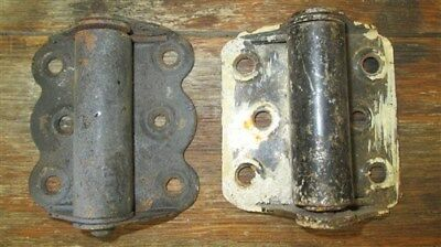 2 Spring Hinges Door Cabinet Vintage Architectural Salvage Hardware FREE SHIP
