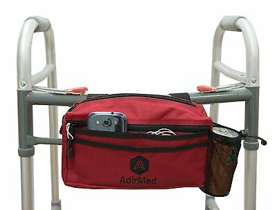 Wheelchair Pouch Rollator Walker Cycle Scooter Storage Bag Mesh Cup Holder Red