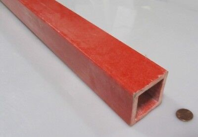"GPO3 Electrical Red Fiberglass Square Tube 2.0 OW x 1.50 IW x 1/4"" Wall x 96"" L"