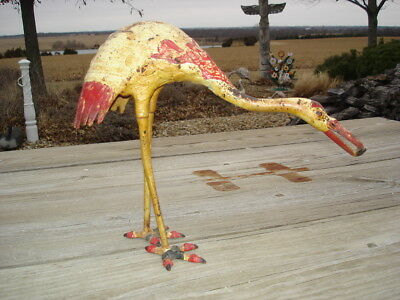 Antique 19th Century Cast Iron Garden Heron ~ All Original