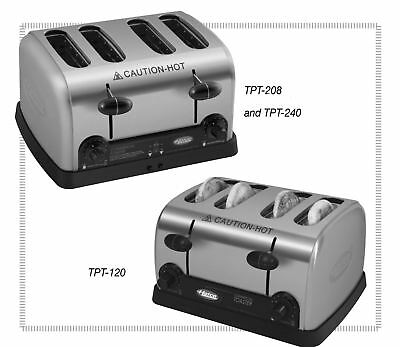 """Hatco TPT3-120 Commercial Pop-Up Toaster w/(4) 1.25"""" Slots 120v  NEW Brushed SS"""
