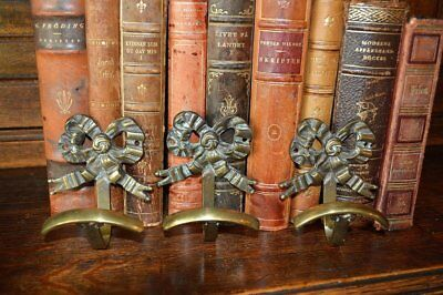 One Antique French Brass Large Bow Ribbon Hook Coats Robes Utensils