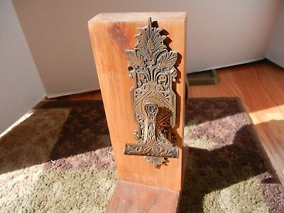 ANTIQUE PAT'd 1872 ORNATE LEVER OPERATED DOORBELL MOUNTED ON OLD DOOR SECTION