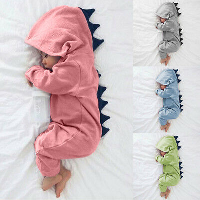 Newborn Baby Boys Girls Kids Dinosaur Hooded Romper Jumpsuit Clothes Outfits New
