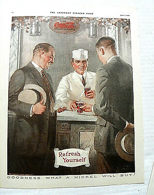 "1924 June,5 Saturday Evening Post ""goodness What A Nickel Will Buy!"" Soda Jerk"