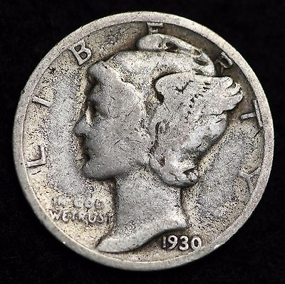 1930-S Mercury Dime / Circulated Grade Good / Very Good 90% Silver Coin