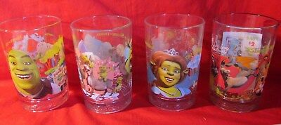Complete Set Of 4 SHREK The THIRD 2007 McDonald's  Collector's Glasses