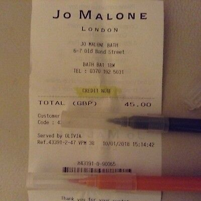 Jo Malone credit note / gift voucher for £45