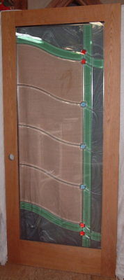Vintage Pair of Solid Oak Wood Doors, Bevelled Leaded Green/Clear Glass 36 X 80