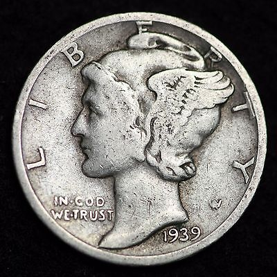 1939-S Mercury Dime / Circulated Grade Good / Very Good 90% Silver Coin