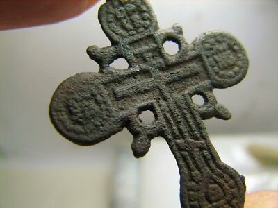 Rare Form ! Relief!  Big Size Nice Late Medieval Bronze Cross Pendant #193