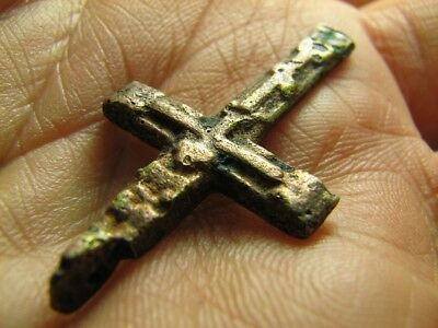 Solid ! Relief! Big Size Nice Late Medieval Bronze Cross Pendant #202