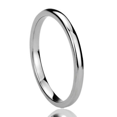 2MM Stainless Steel Wedding Band Ring High Polished Classy Domed Ring