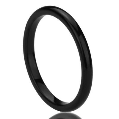 2MM Stainless Steel Wedding Band Ring Black High Polished Classy Domed Ring