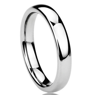 4MM Stainless Steel Wedding Band Ring High Polished Classy Domed Ring