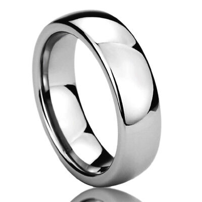 6MM Stainless Steel Wedding Band Ring High Polished Classy Domed Ring