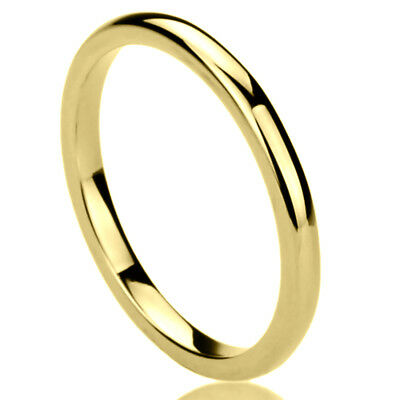 2MM Stainless Steel Wedding Band Ring Gold Tone High Polished Classy Domed Ring