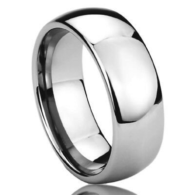 8MM Stainless Steel Wedding Band Ring High Polished Classy Domed Ring