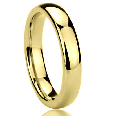 4MM Stainless Steel Wedding Band Ring Gold Tone High Polished Classy Domed Ring