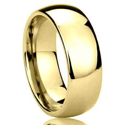 8MM Stainless Steel Wedding Band Ring Gold Tone High Polished Classy Domed Ring