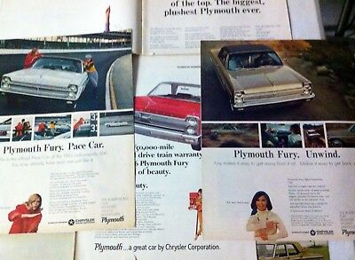 1965 Plymouth Fury Indy Pace Car ad 5 pc lot Valiant Belvedere Satellite 1966