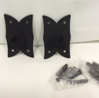 Gothic Style Wrought Iron Pair of  Inside Mount Brackets - Pipe or Drapery Rod
