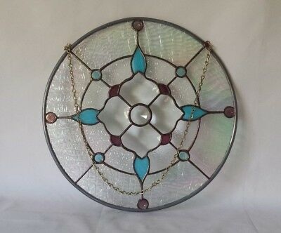 "Stained Glass Round Window Panel Hanging w Chain 14"" EXC"
