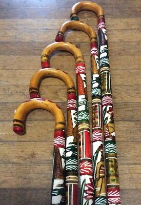 (1) Colorful Hand Painted Mexican Carved Wooden Cane Walking Stick Aztec 36""