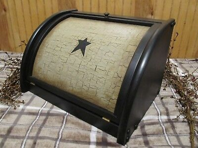 Primitive wood bread box black tan crackle distressed country