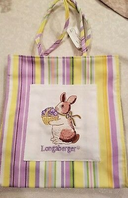 Longaberger Small Tote Homestead Exclusive Pastel Stripe Easter Bunny