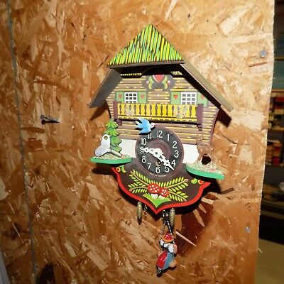 German Mini Cuckoo Clock spring action complete works great Black Forest style