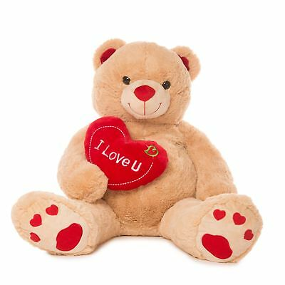 Jumbo Teddy Bear w/ I Love You Heart Valentines Gift For Her Him Stuffed Toy New