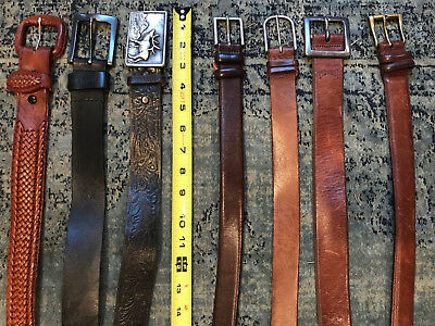 Lot Of 7 Vintage & Contemporary Mixed Style Plain Tooled Woven Belts Sz 32-38