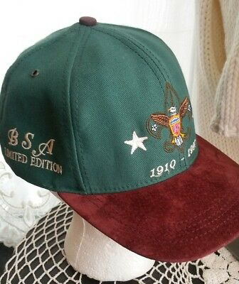 Vtg Boy Scouts Of America BSA Green Baseball Hat Limited Edition Leather 1997