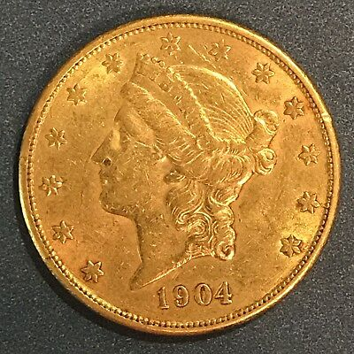 1904 $20 Gold Coin Liberty Head Double Eagle One Ounce 1 Oz No Reserve!