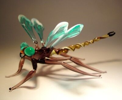 "Blown Glass ""Murano"" Figurine Gorgeous Green and White DRAGONFLY"