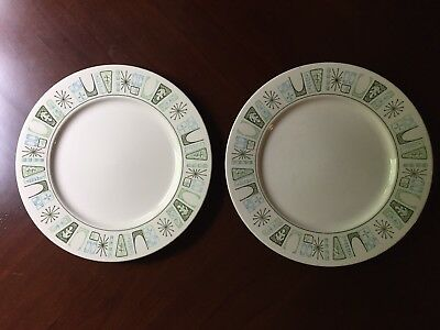 Set of 2 Taylor Smith Taylor CATHAY 10.5''Dinner Plates MCM ATOMIC STARBURST
