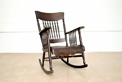 Antique Rocking Chair Victorian Smith Day & Co. Wood Spindleback Bentwood Seat