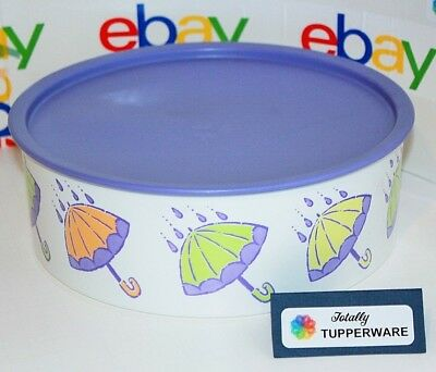 TUPPERWARE F One-Touch Canister Container Umbrella Rain Spring Purple Seal NEW!