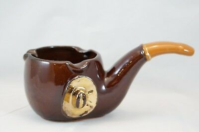 VINTAGE CERAMIC PIPE SHAPED ASHTRAY Brown with Cowboy hat 3 rests