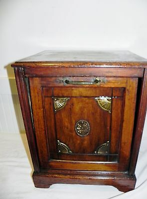 Antique Wood Wooden Fireplace Coal Box Cabinet Scuddle Brass Hardware Large 19""
